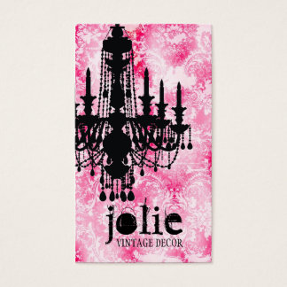 Cartes De Visite Damassé rose blanche de lustre de Jolie de