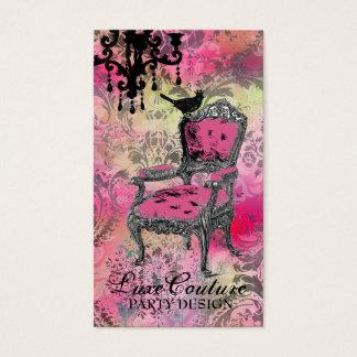 Cartes De Visite Damassé rose colorée fabuleusement française de la