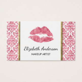 Cartes De Visite Damassé rose d'aluminium de Faux de lèvres d'or de
