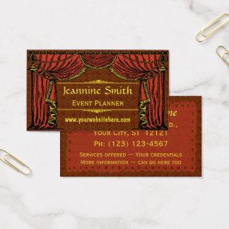 Cartes De Visite Damassé vintage de rideaux en théâtre