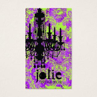 Cartes De Visite Damassé violette chaude de lustre de la