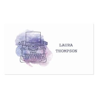 Cartes de visite d'auteurs de machine à écrire carte de visite standard