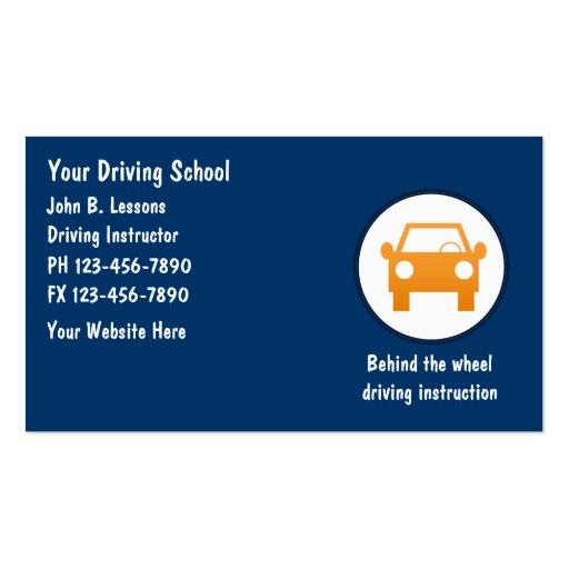Cartes de visite d'auto-école modèles de cartes de visite