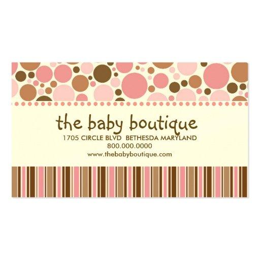 Cartes de visite de boutique de bébé cartes de visite professionnelles