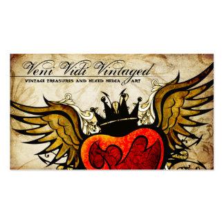Cartes de visite de coeur à ailes par tatouage urb carte de visite