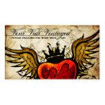 Cartes de visite de coeur à ailes par tatouage urb cartes de visite personnelles