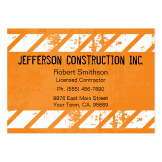 Cartes de visite de Construction Orange Large Carte De Visite