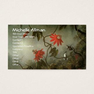 Cartes de visite de fleurs et de colibris de