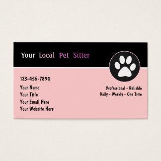Cartes de visite de garde d'enfants d'animal