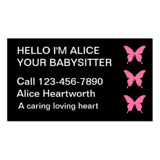 Cartes de visite de garde d'enfants simples cartes de visite professionnelles