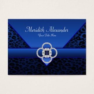 Cartes de visite de léopard de bleu royal