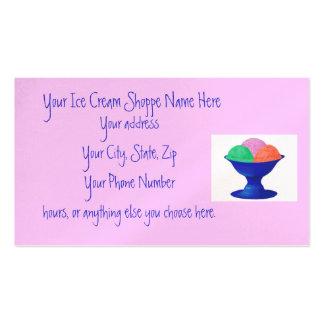 Cartes de visite de magasin de crème glacée cartes de visite professionnelles