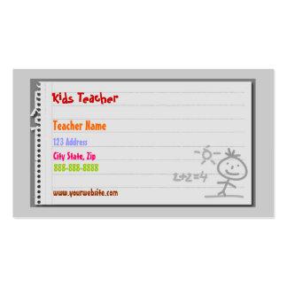 Cartes de visite de maître d'école carte de visite standard