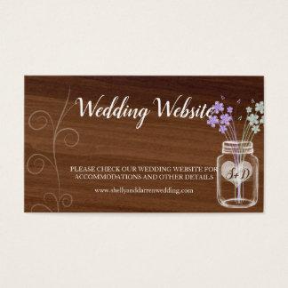 Cartes de visite de mariage campagnard de pot de