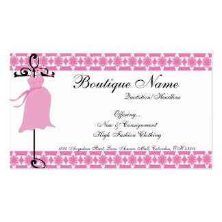 Cartes de visite de maternité roses de boutique de carte de visite standard