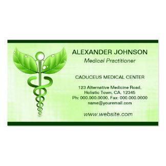 Cartes de visite de médecine douce de caducée modèles de cartes de visite