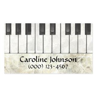 Cartes de visite de musicien de professeur de pian