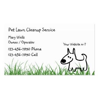 Cartes de visite de nettoyage de pelouse de chien cartes de visite professionnelles