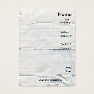 Cartes de visite de papier de carnet