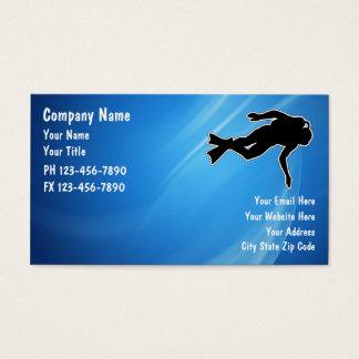 Cartes de visite de plongée à l'air