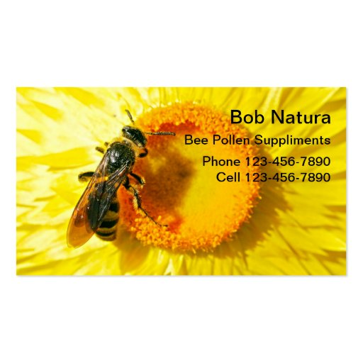 Cartes de visite de pollen d'abeille modèles de cartes de visite