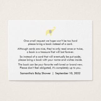 Cartes De Visite Demande grise jaune/livres de livre d'éléphant de