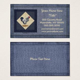 Cartes De Visite Denim de coq de Wyandotte lacé par argent