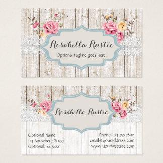 Cartes De Visite Dentelle rustique florale chic minable en bois et