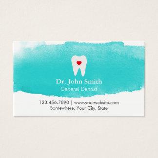 Cartes De Visite Dentiste dentaire d'aquarelle de coeur de dent de