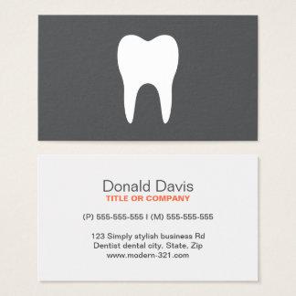Cartes De Visite Dentiste minimalistic simple de dent blanche