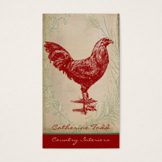 Cartes De Visite Design d'intérieur chic minable de coq rouge