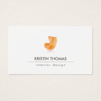 Cartes De Visite Dessinateur d'intérieurs élégant de chaise en cuir