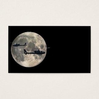 Cartes De Visite deux hélicoptères silhouettés par une pleine lune