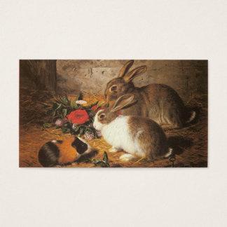 Cartes De Visite Deux lapins et un cobaye