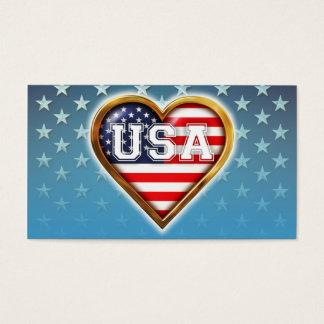 Cartes De Visite Drapeau américain en forme de coeur