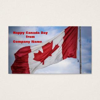 Cartes De Visite Drapeau canadien rouge et blanc de jour heureux du