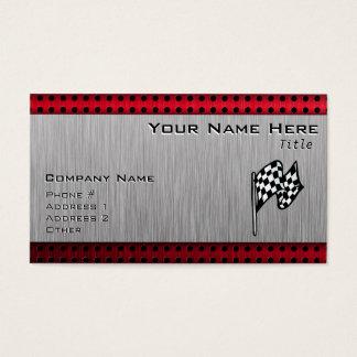 Cartes De Visite Drapeau Checkered ; regard en aluminium balayé
