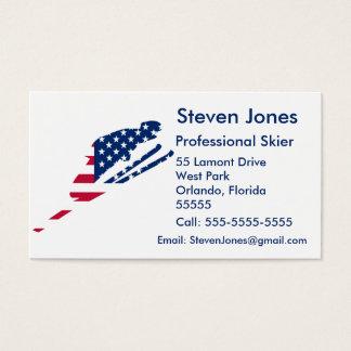 Cartes De Visite Drapeau des Etats-Unis d'Américain de ski de
