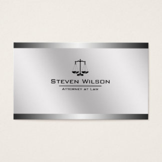 Cartes De Visite Échelle juridique en acier blanche et argentée