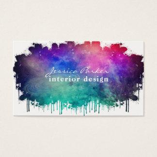 Cartes De Visite Éclaboussure colorée de l'espace d'aquarelle