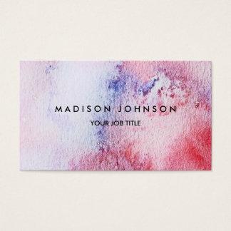 Cartes De Visite Éclaboussure rose bleue d'aquarelle peinte à la
