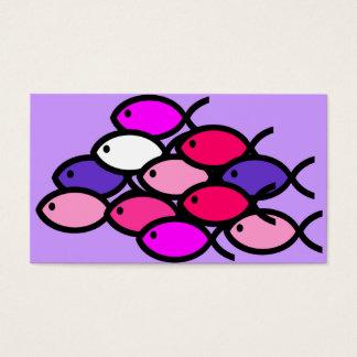 Cartes De Visite École des symboles chrétiens de poissons - rose
