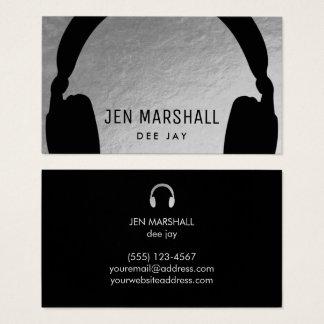 Cartes De Visite Écouteurs du DJ sur l'aluminium argenté de faux