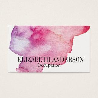 Cartes De Visite Effet peint à la main rose et pourpre chic