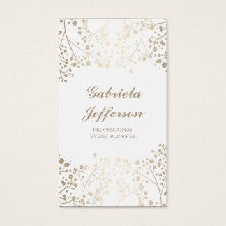 Cartes De Visite Élégant vintage blanc du souffle du bébé d'or