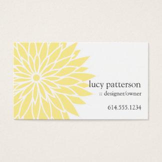 Cartes de visite élégants chics jaunes de flower