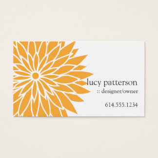 Cartes de visite élégants chics oranges de flower
