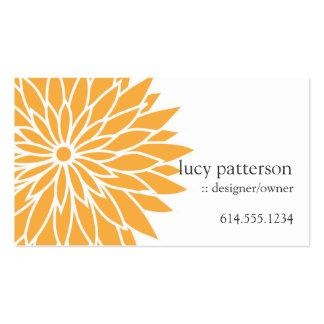 Cartes de visite élégants chics oranges de flower  carte de visite standard