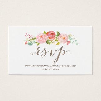 Cartes De Visite Email floral RSVP de mariage de roseraie