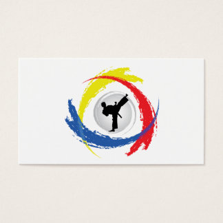 Cartes De Visite Emblème tricolore de karaté